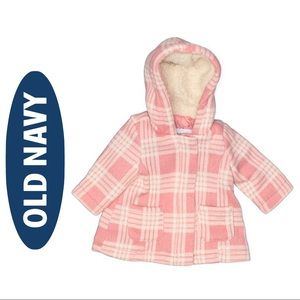 Old Navy Plaid Sherpa Jacket Pink White 3-6 months
